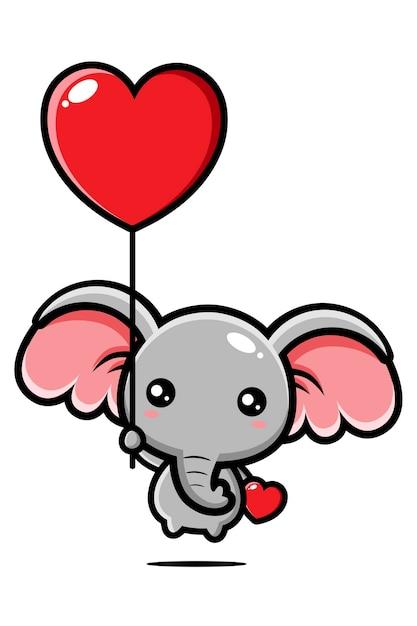Słodki Słoń Lecący Z Balonem Miłości Premium Wektorów