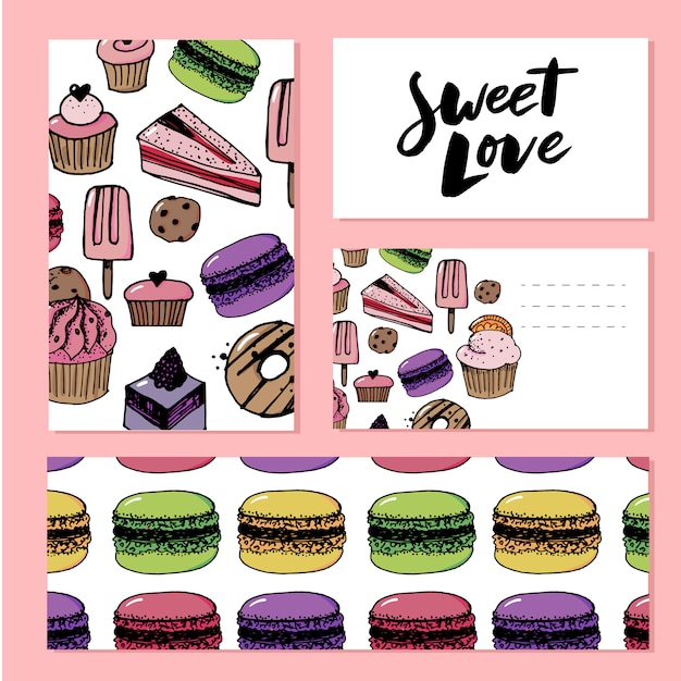 Słodki Szablon Miłości Premium Wektorów
