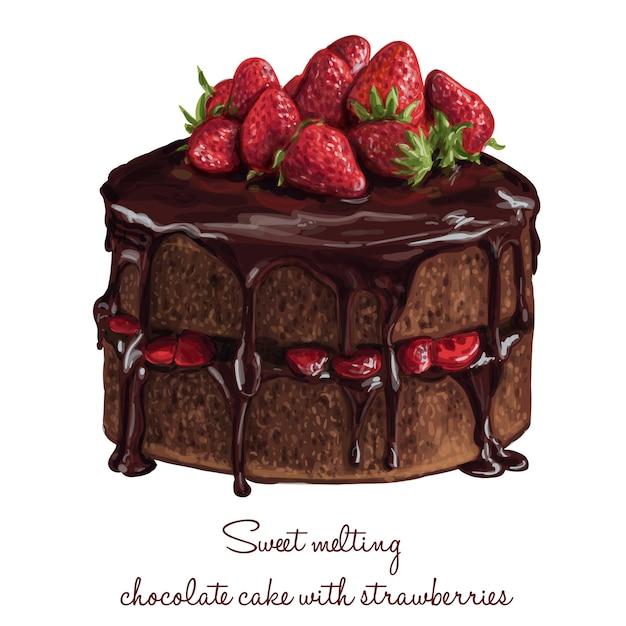 Słodki Topienia Czekolady Ciasto Z Truskawkami Darmowych Wektorów