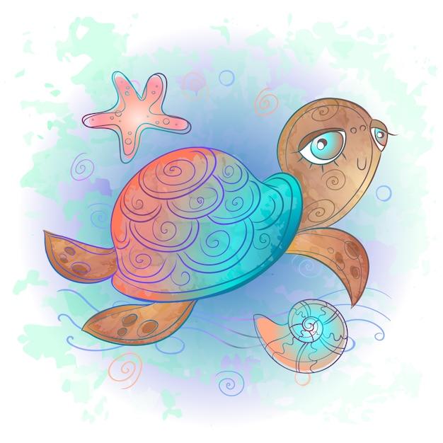 Słodki żółw Morski. Podwodny świat. Akwarela. Premium Wektorów