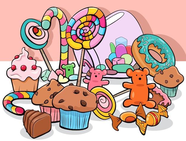 Słodkich Karmowych Przedmiotów Kreskówki Grupowa Ilustracja Premium Wektorów