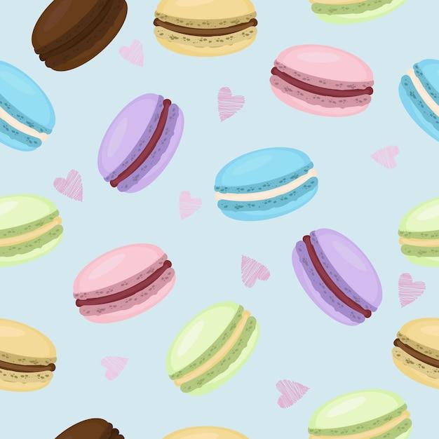 Słodkich Macaroons Bezszwowy Deseniowy Tło Premium Wektorów