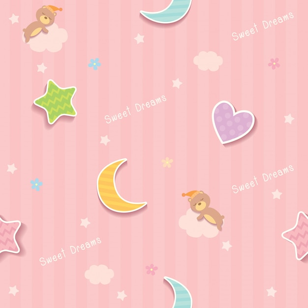Słodkich snów różowy wzór Premium Wektorów