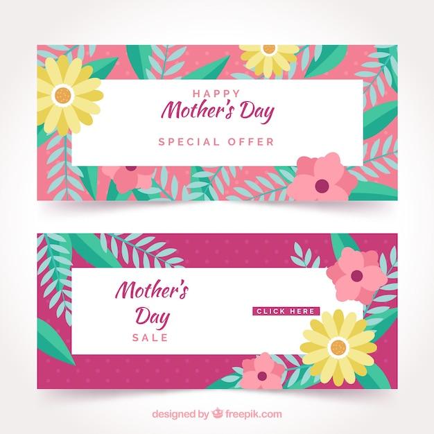 Słodkie Banery Z Dnia Matki Darmowych Wektorów