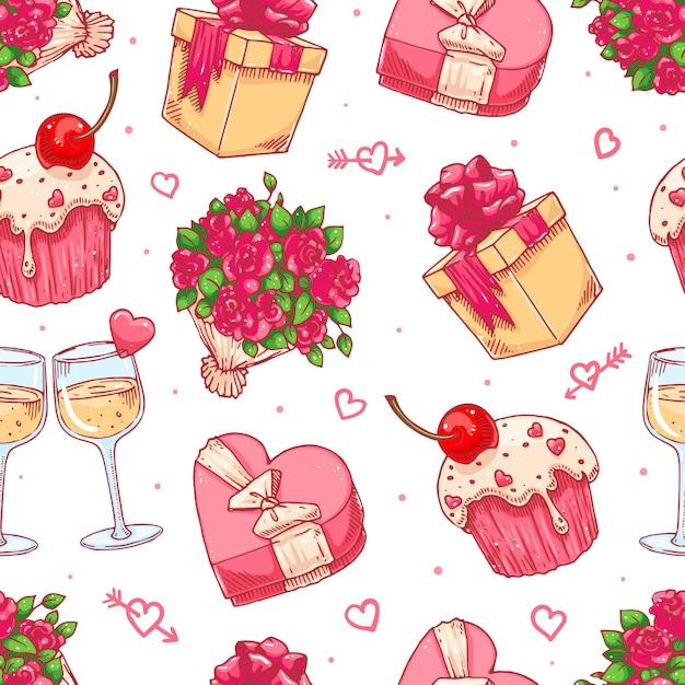 Słodkie Bezszwowe Tło Na Walentynki Z Bukietem Róż, Kieliszki Do Szampana I Prezenty Premium Wektorów