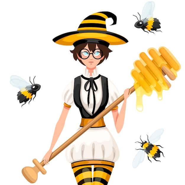Słodkie Brązowe Włosy Wiedźma Miód Latający Z Pszczołami. Kobieta Trzyma Miód Czerpak, Różdżka. Kostium W Paski Pszczoły. Ilustracja Na Białym Tle Premium Wektorów