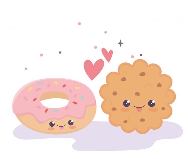 Słodkie Ciasteczka I Pączki Uwielbiają Serca Kawaii Postać Z Kreskówki Premium Wektorów