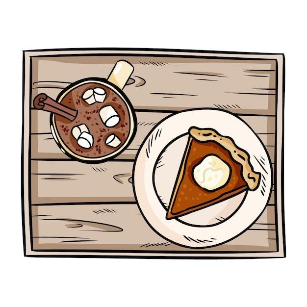 Słodkie Ciasto Z Dyni Kreskówka I Gorąca Czekolada Kakao Premium Wektorów