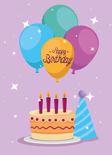 Słodkie ciasto z świece i balony ozdoba kartkę z życzeniami Darmowych Wektorów