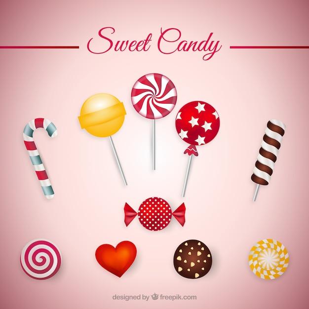 Słodkie cukierki kolekcji Darmowych Wektorów