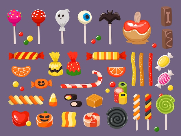 Słodkie cukierki, przerażający nietoperzowy lizak i słodycze lukrecja Premium Wektorów