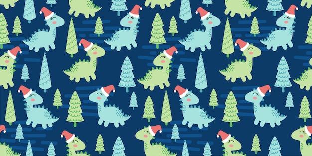 Słodkie dinozaury zwierząt wzór doodle dino zimowy motyw Premium Wektorów