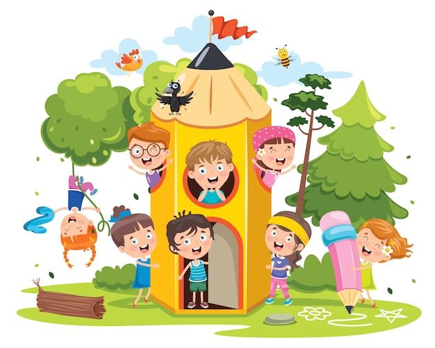 Słodkie Dzieci Bawiące Się W Domu Ołówek Premium Wektorów