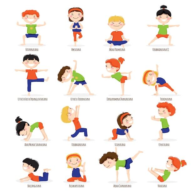 Słodkie dzieci chłopców i dziewcząt w najlepsze asany jogi stanowi zestaw kolekcja ikony kreskówka Darmowych Wektorów