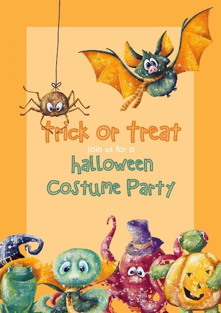 Słodkie dzieci halloween zaproszenia szablonu karty Premium Wektorów