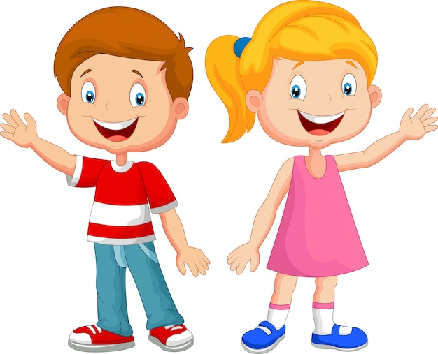 Słodkie Dzieci Macha Ręką | Premium Wektor