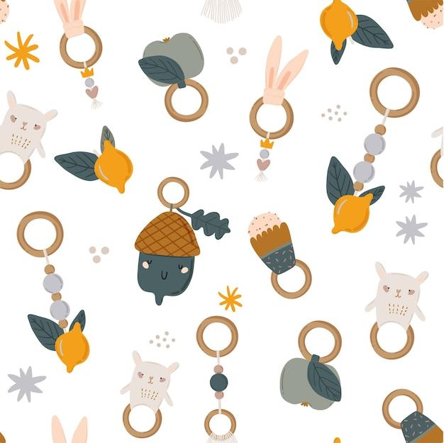 Słodkie Dzieci Skandynawski Wzór Z Zabawnymi Zwierzętami, Mobilne Zabawki Dla Dzieci Premium Wektorów
