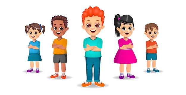 Słodkie Dzieci Stojące Z Rękami Skrzyżowanymi Zestaw Premium Wektorów