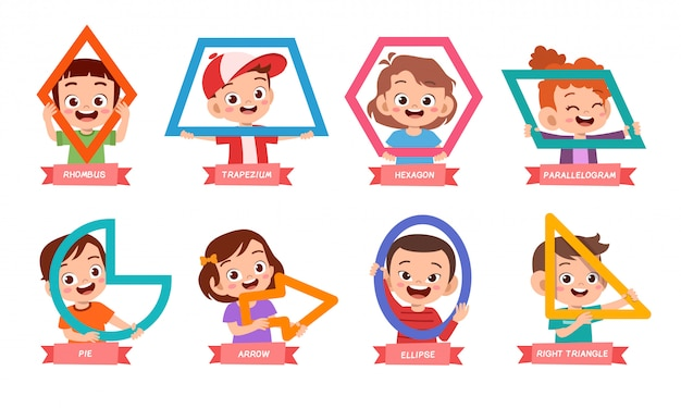 Słodkie dzieci uczą się podstawowego kształtu Premium Wektorów