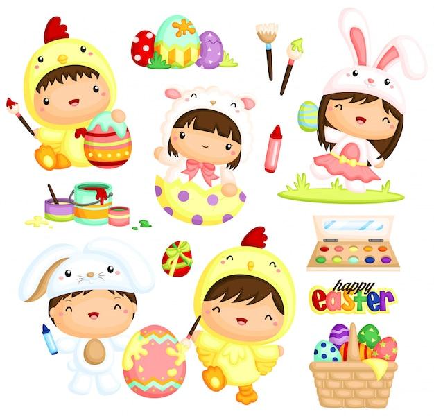 Słodkie dzieci w wielkanocne malowanie jajek kostiumowych Premium Wektorów
