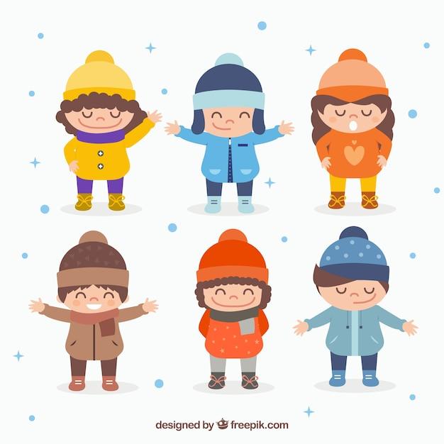 Słodkie Dzieci W Zimowe Ubrania | Darmowy Wektor