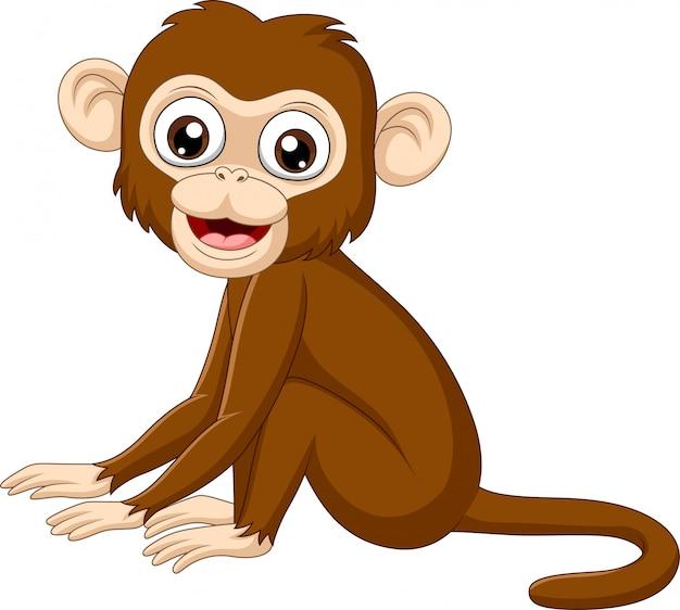 Słodkie dziecko małpa siedzi Premium Wektorów