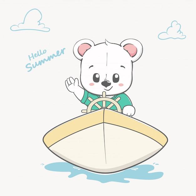 Słodkie dziecko niedźwiedź na łodzi witaj lato Premium Wektorów