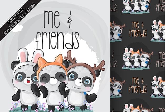 Słodkie Dziecko Panda I Przyjaciel Wzór Premium Wektorów