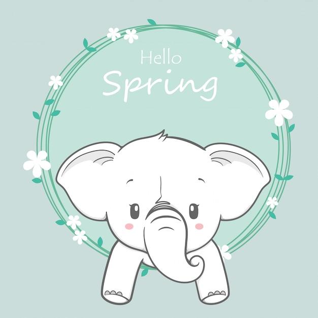 Słodkie dziecko słoń cześć wiosna kreskówka wyciągnąć rękę Premium Wektorów