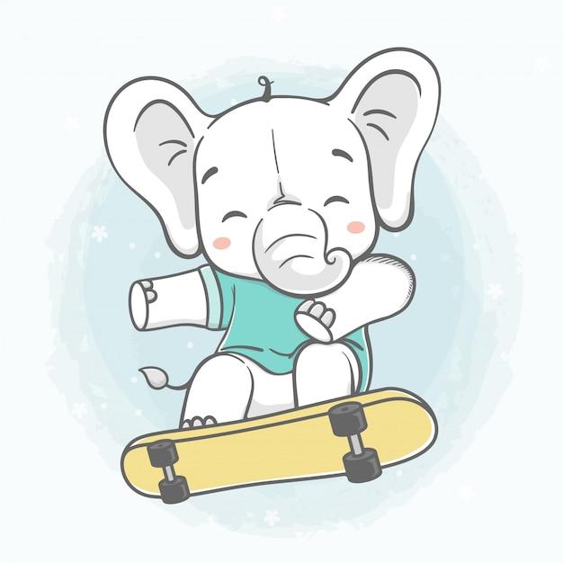 Słodkie dziecko słoń grać deskorolka kolor wody kreskówka wyciągnąć rękę Premium Wektorów