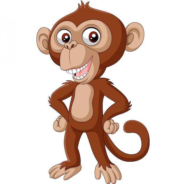 Słodkie dziecko szympans kreskówka pozowanie Premium Wektorów