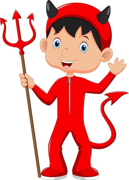 Słodkie Dziecko W Kostiumie Diabła Na Halloween Premium Wektorów