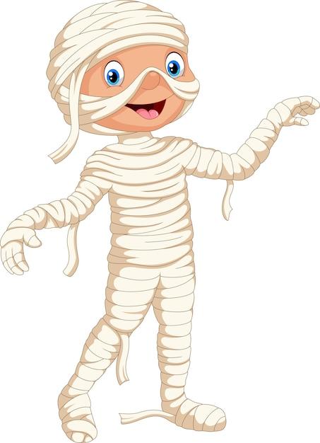 Słodkie Dziecko W Kostiumie Mumii Na Halloween Premium Wektorów