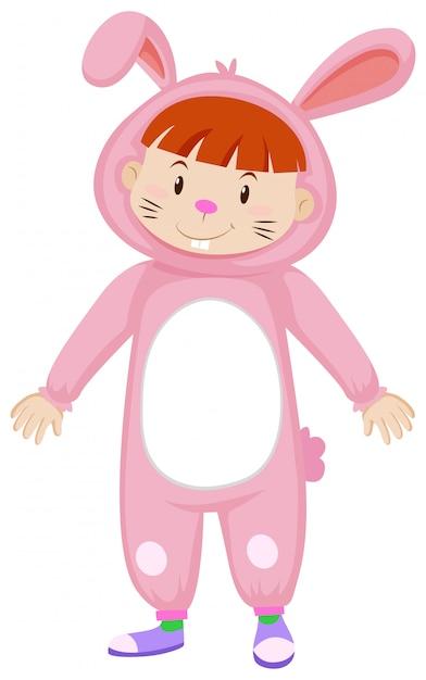 Słodkie Dziecko W Stroju Króliczka W Kolorze Różowym Darmowych Wektorów