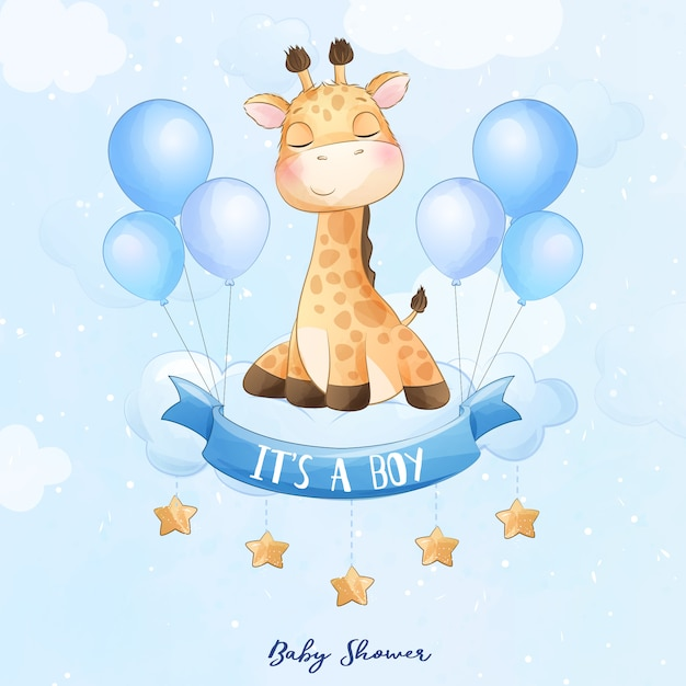 Słodkie Dziecko żyrafa Siedzi W Chmurze Z Akwarela Ilustracja Premium Wektorów