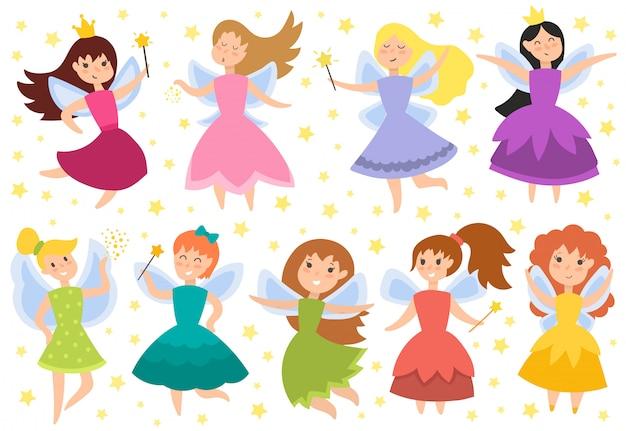 Słodkie Dziewczyny W Ilustracji Wektorowych Mucha Premium Wektorów