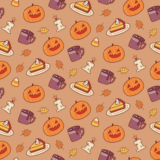 Słodkie halloween bezszwowe tło Premium Wektorów