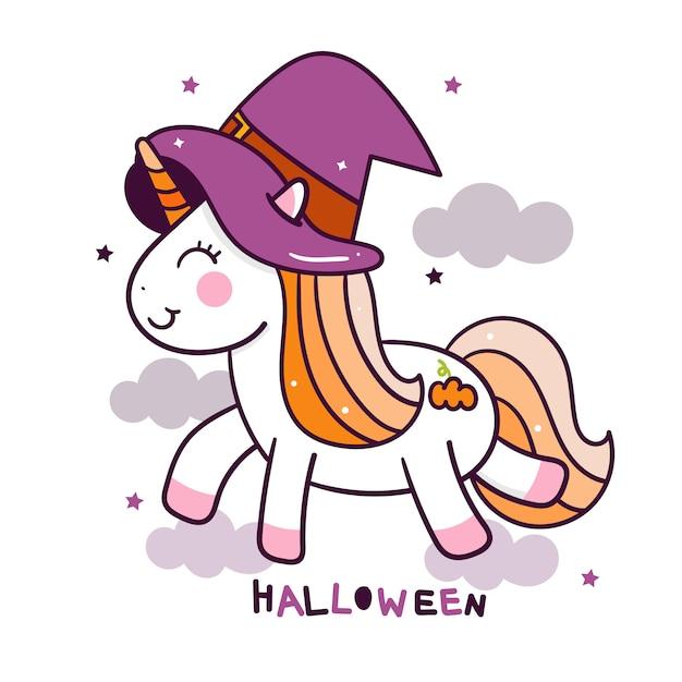 Słodkie jednorożca w imprezie halloween na niebie Premium Wektorów
