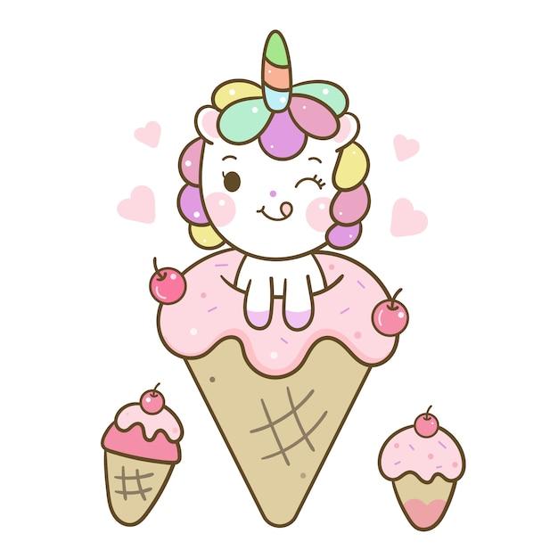 Słodkie jednorożec wektor miłość kreskówka lody Premium Wektorów