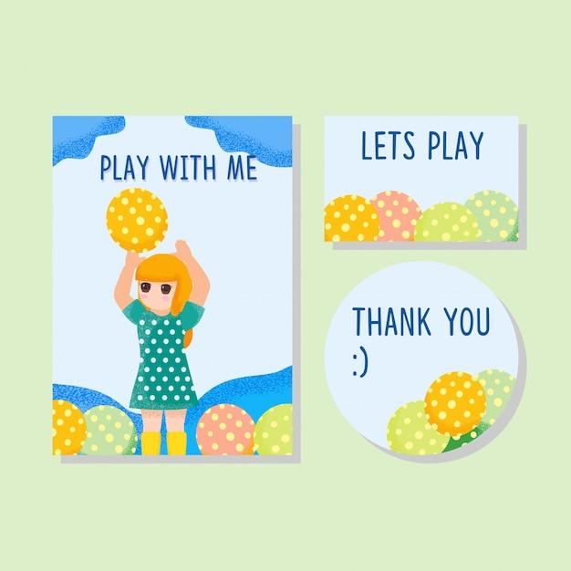 Słodkie karty dzieci zaproszenie dzięki karty chłopiec dziewczyna wyciągnąć rękę Premium Wektorów