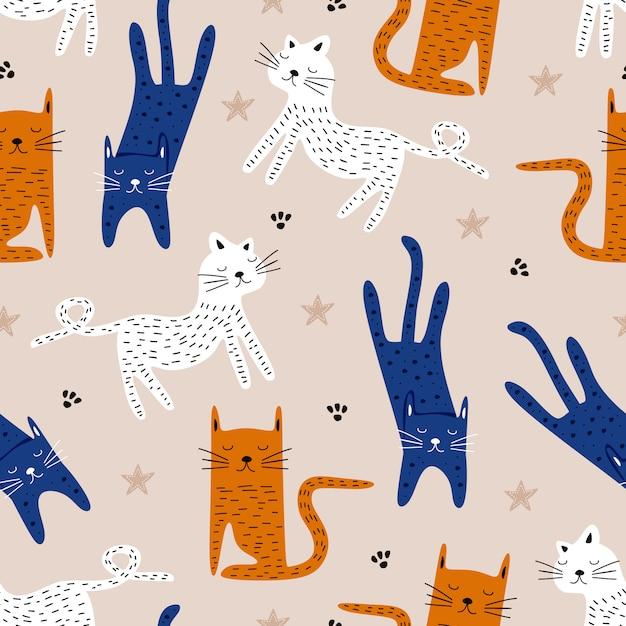 Słodkie Kot Ręcznie Rysowane Dziecinna Rysunek Wzór Premium Wektorów