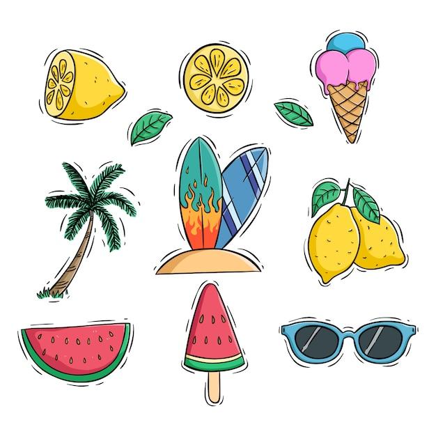 Słodkie Letnie Ikony Zestaw Z Arbuza Cytryny I Drzewa Kokosowego Przy Użyciu Stylu Kolorowe Doodle Premium Wektorów
