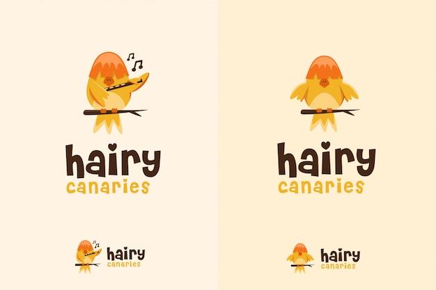 Słodkie logo kanarka Premium Wektorów