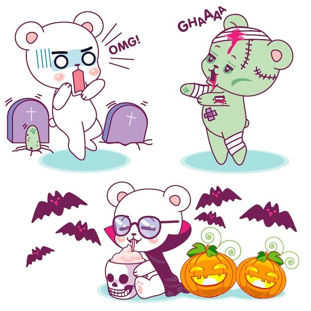 Słodkie małe niedźwiedzie halloweenowe horrory Premium Wektorów