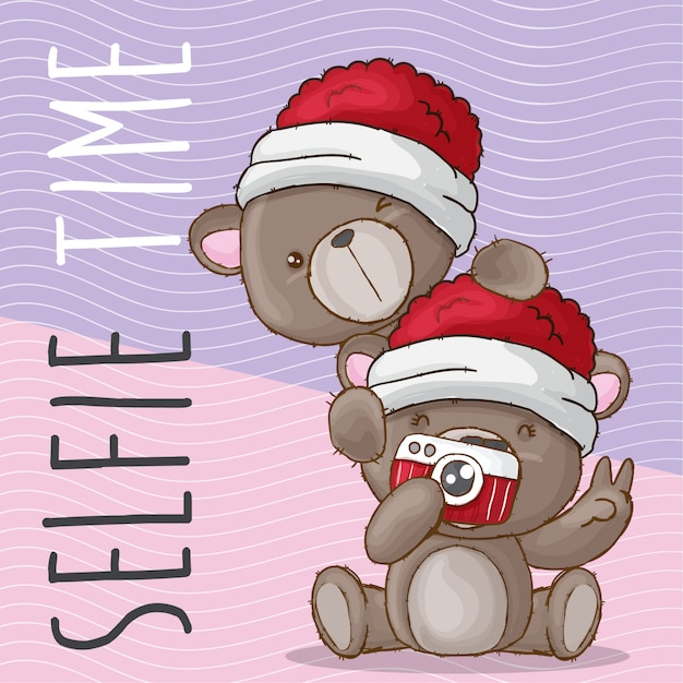 Słodkie niedźwiedź selfie ręcznie rysowane zwierząt Premium Wektorów