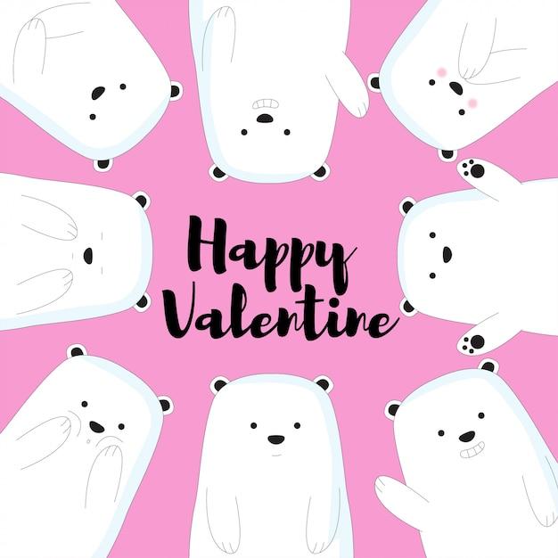 Słodkie niedźwiedzie valentine tło Premium Wektorów