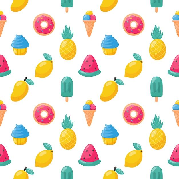 Słodkie Owoce Tropikalne Z Lodami Wzór. Cytryna, Arbuz, Ananas. Letnie Jedzenie. Wektor. Premium Wektorów