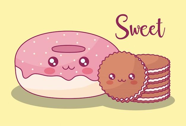 Słodkie Pączki I Ciasteczka Kawaii Znaków Premium Wektorów