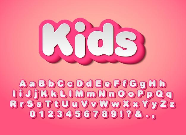 Słodkie różowe litery. Premium Wektorów