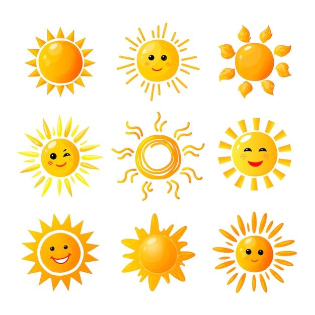 Słodkie Słońce. Ręcznie Rysowane Słońce. Letni Poranek Wschód Słońca. Doodle Radość Ocieplenia Ikony Premium Wektorów